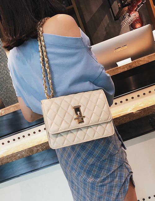 Fashion Beige Grids Pattern Decorated Bag