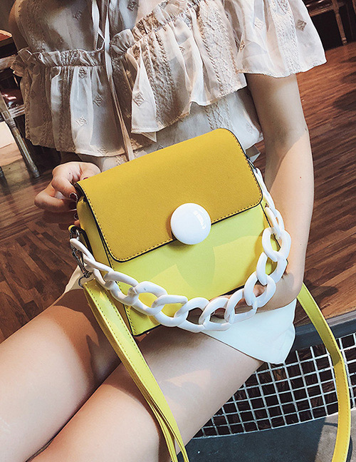 Fashion Yellow Color-matching Decorated Bag