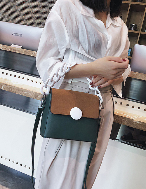 Fashion Green+brown Color-matching Decorated Bag