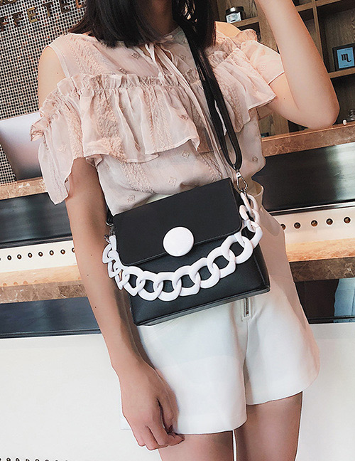 Fashion Black+white Color-matching Decorated Bag
