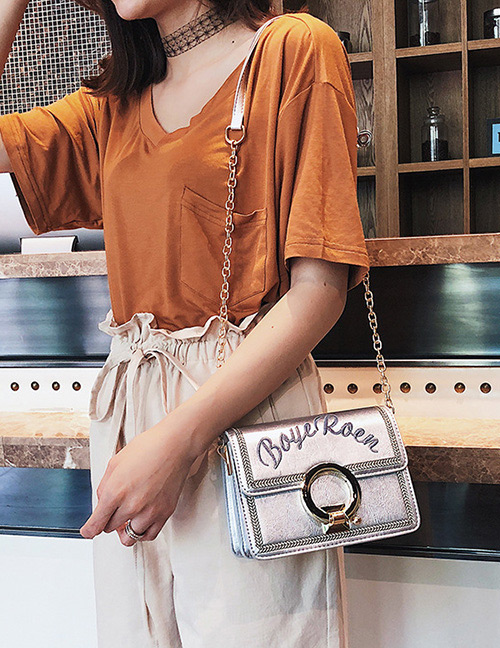 Fashion Silver Color Letter Pattern Decorated Bag