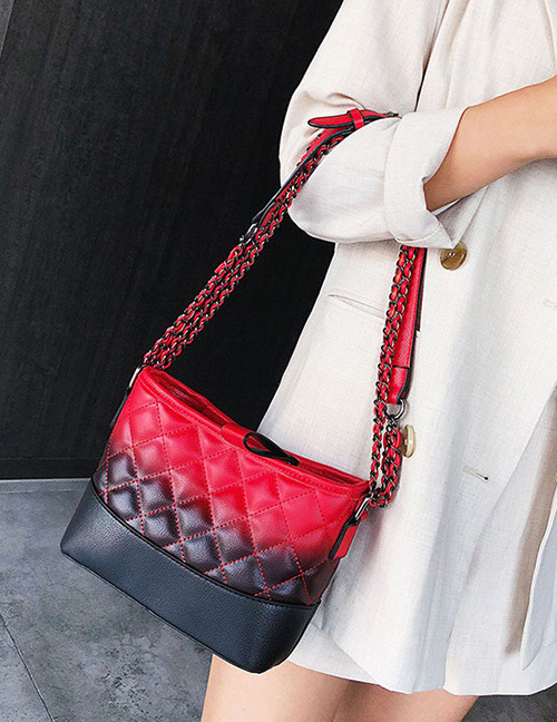 Fashion Red+black Grids Pattern Decorated Bag