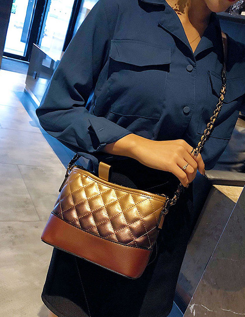 Fashion Brown+yellow Grids Pattern Decorated Bag