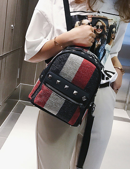 Fashion Black Stripe Pattern Decorated Bag