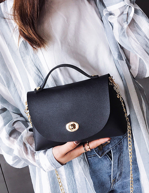 Fashion Black Pure Color Decorated Bag
