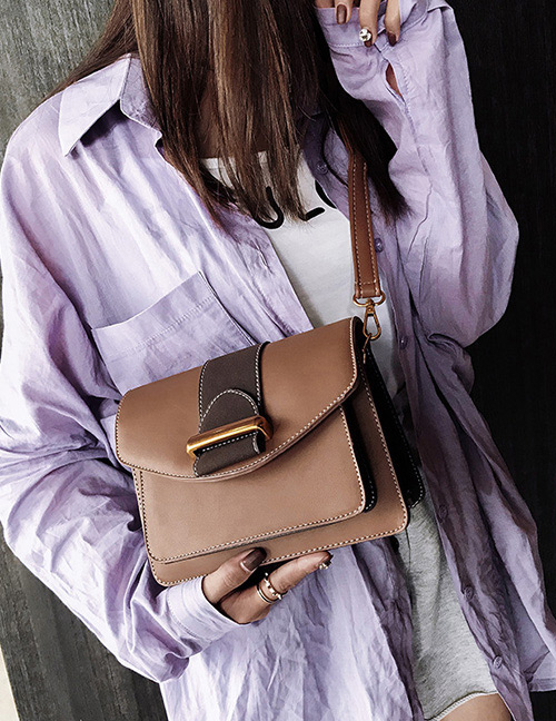 Fashion Brown Belt Buckle Decorated Bag