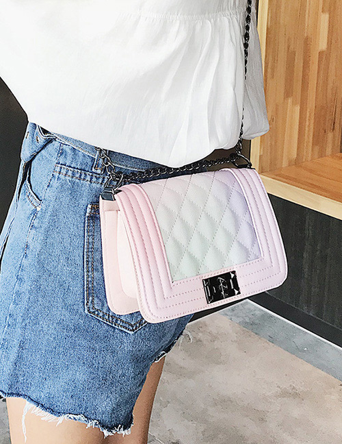 Fashion Pink Grids Pattern Decorated Bag
