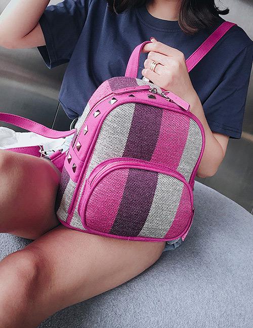 Fashion Plum Red Stripe Pattern Decorated Bag