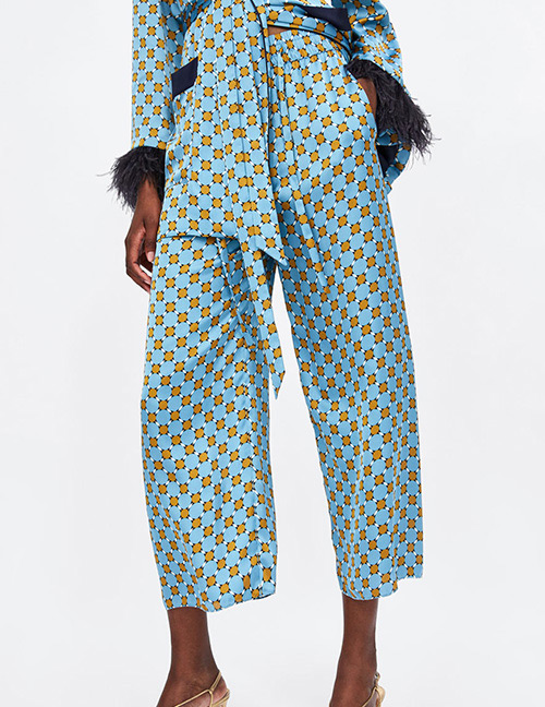 Fashion Blue Spot Pattern Decorated Trousers