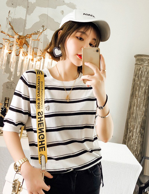 Fashion White Stripe Pattern Decorated Shirt