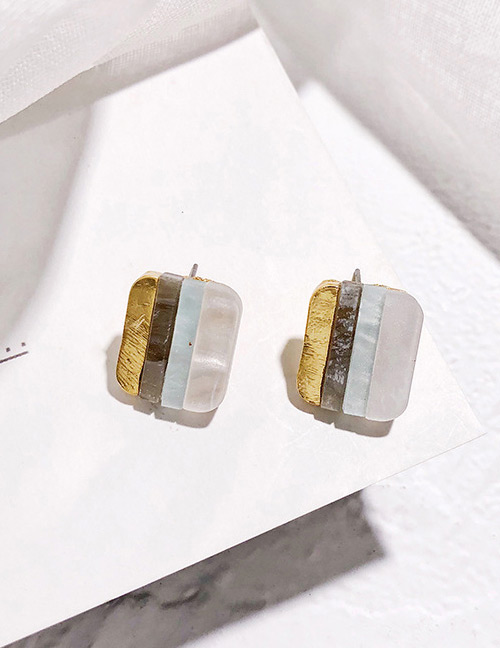 Fashion Multi-color Color-matching Decorated Square Earrings
