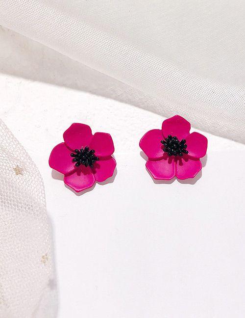 Fashion Plum Red Flower Shape Design Earrings