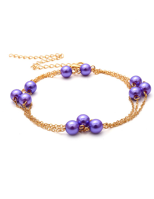 Fashion Purple Pearl Decorated Necklace