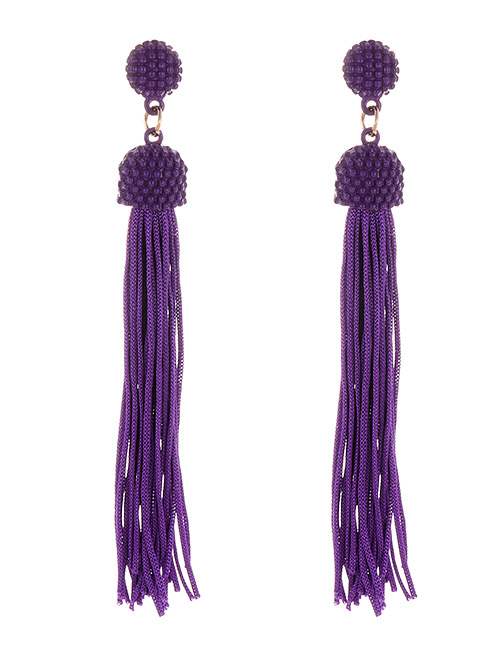Fashion Purple Pure Color Decorated Tassel Earrings