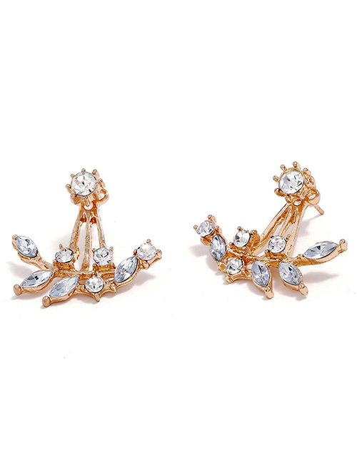 Fashion Rose Gold Full Diamond Decorated Earrings