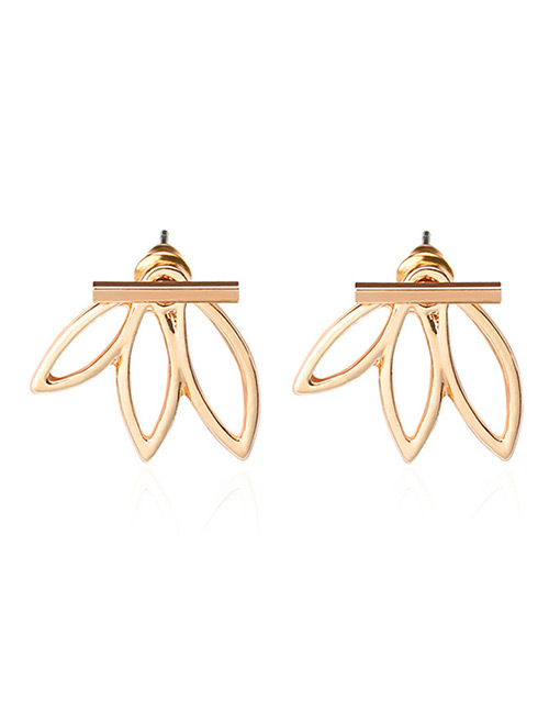 Fashion Rose Gold Flower Shape Decorated Pure Color Earrings