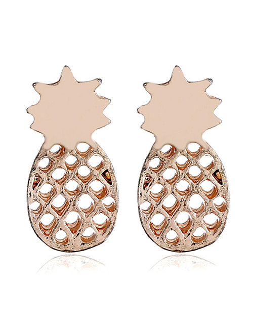 Fashion Rose Gold Pineapple Shape Decorated Earrings