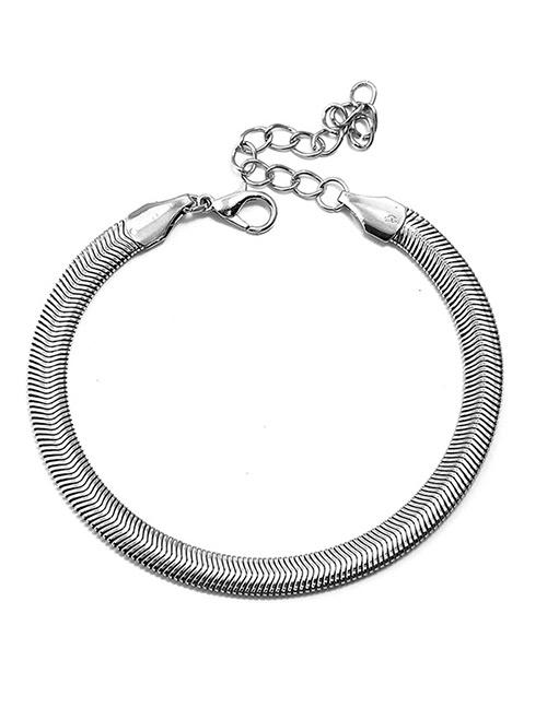 Fashion Silver Color Pure Color Decorated Ankle Chain