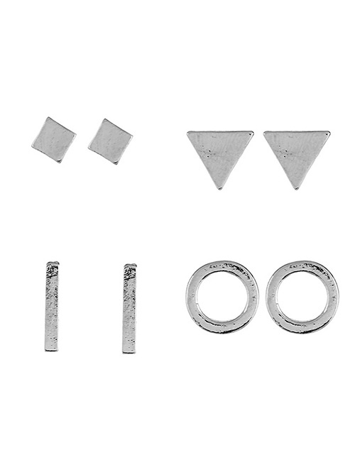 Fashion Silver Color Geometric Shape Decorated Earrings Sets