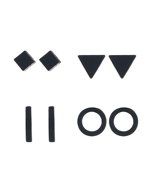 Fashion Black Geometric Shape Decorated Earrings Sets