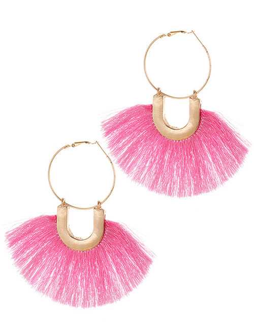 Fashion Light Pink Tassel Decorated Earrings
