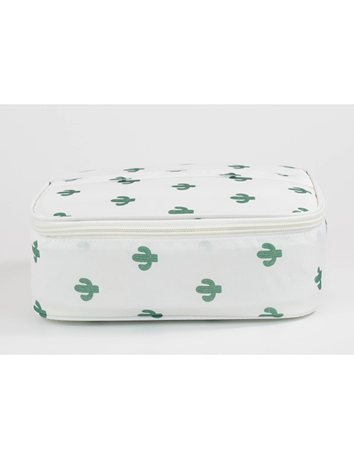 Fashion White Cactus Pattern Decorated Storage Bag
