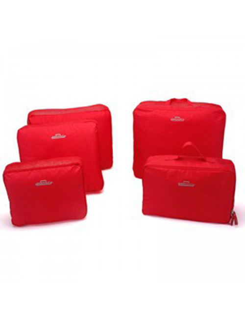 Fashion Red Pure Color Decorated Storage Bag(5pcs)