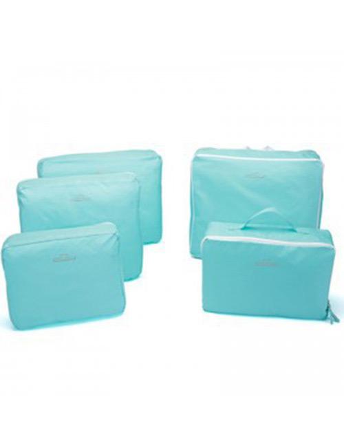 Fashion Blue Pure Color Decorated Storage Bag(5pcs)