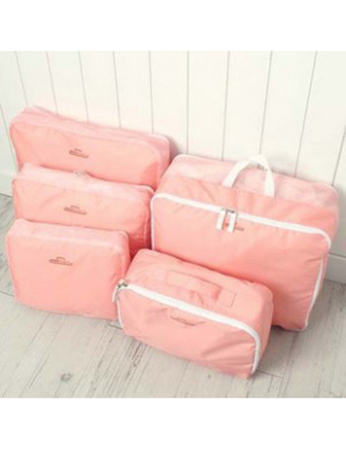 Fashion Pink Pure Color Decorated Storage Bag(5pcs)