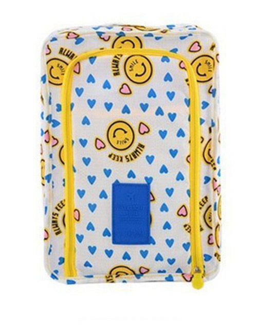 Fashion Yellow+white Heart Pattern Decorated Storage Bag