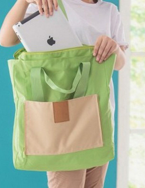Fashion Green Color-matching Decorated Laptop Bag