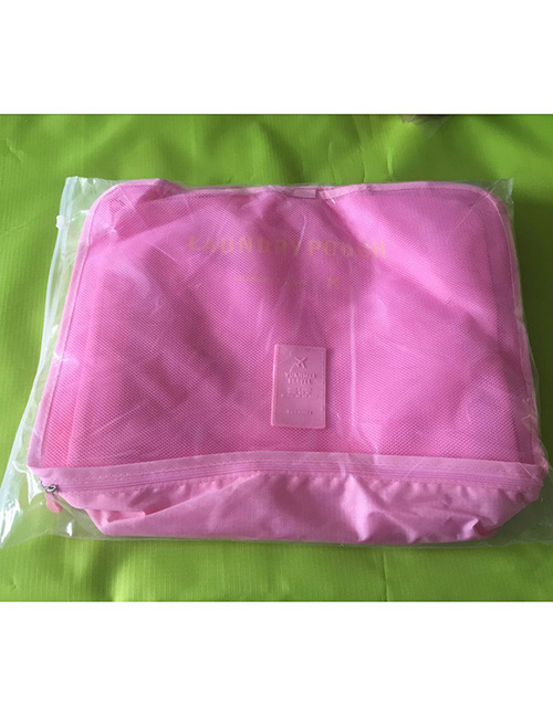 Fashion Pink Pure Color Decorated Storage Bag(6pcs)