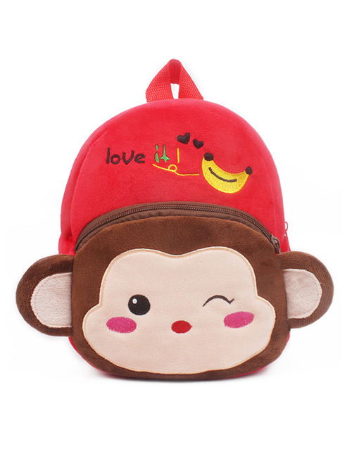 Fashion Red+brown Monkey Shape Decorated Bag