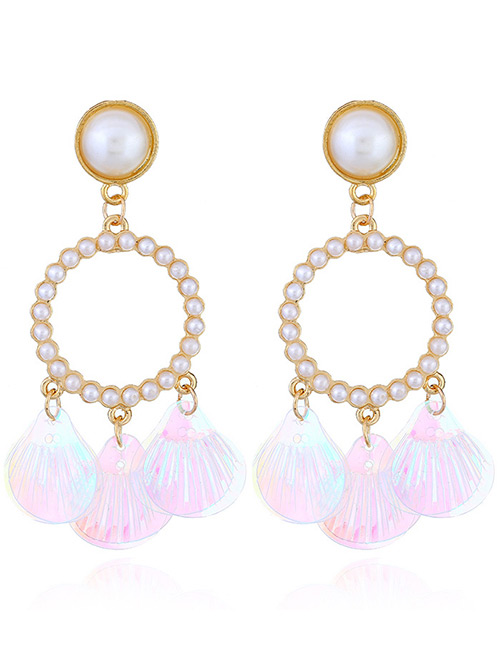 Fashion Light Pink Round Shape Decorated Earrings
