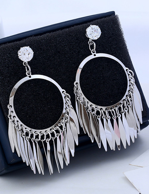 Fashion Silver Color Pure Color Decorated Tassel Earrings