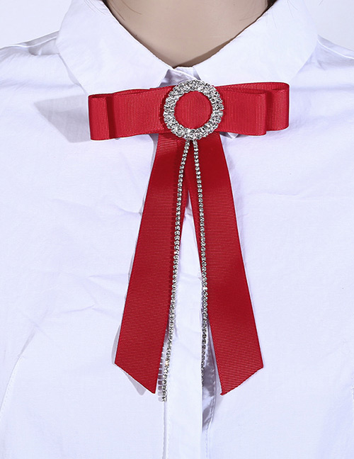 Fashion Red Round Shape Decorated Bowknot Brooch