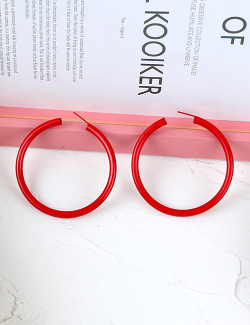 Fashion Red Round Shape Decorated Pure Color Earrings