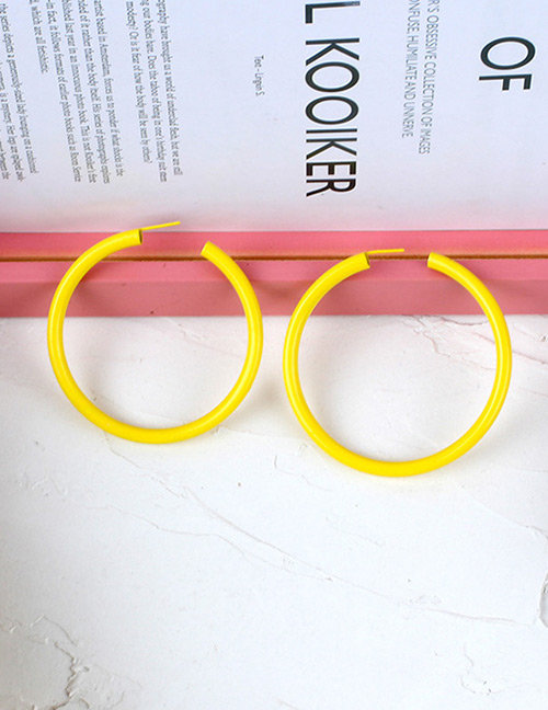 Fashion Yellow Round Shape Decorated Pure Color Earrings
