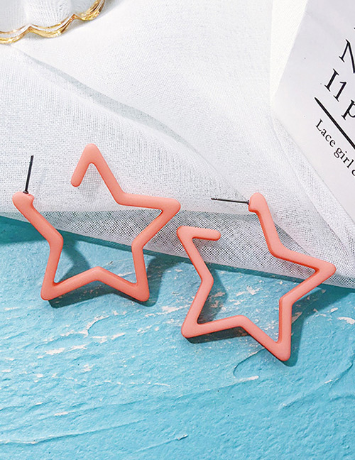 Fashion Pink Star Shape Design Pure Color Earrings