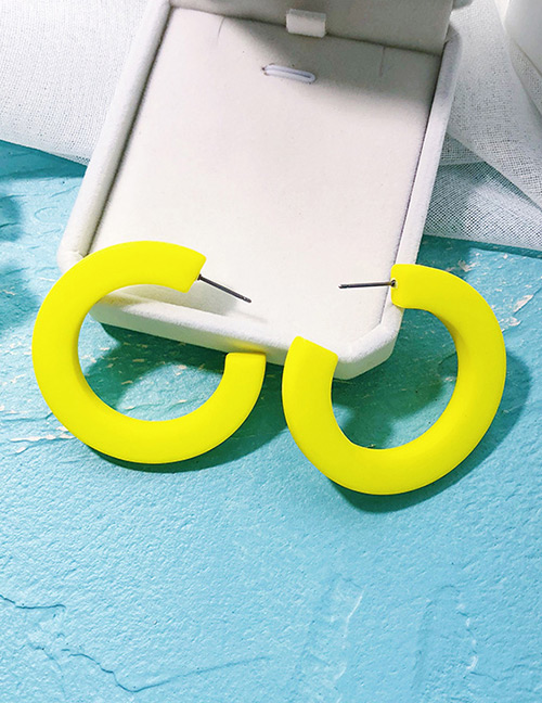 Fashion Yellow Round Shape Design Pure Color Earrings