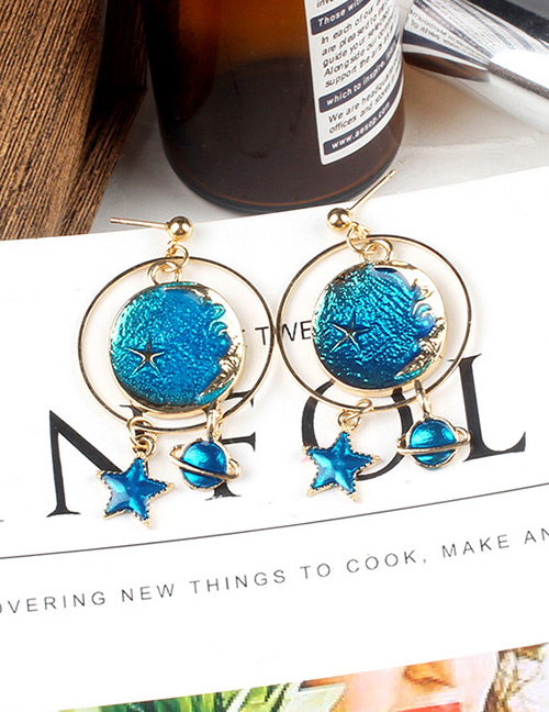 Fashion Blue Round Shape Decorated Earriings