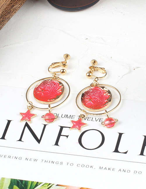 Fashion Pink Round Shape Decorated Earriings