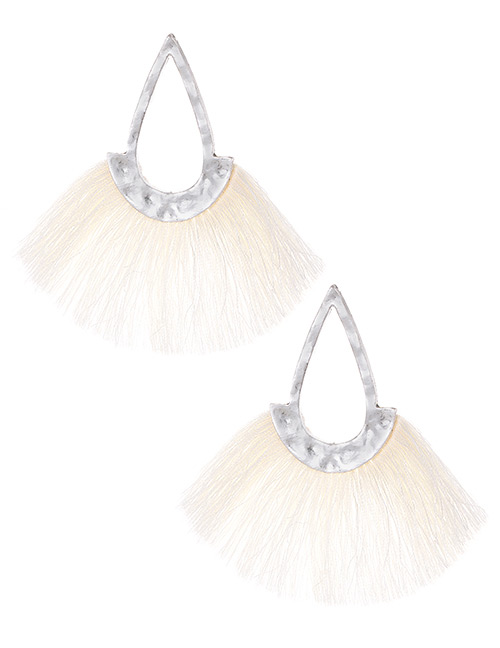 Fashion White Hollow Out Design Tassel Earrings