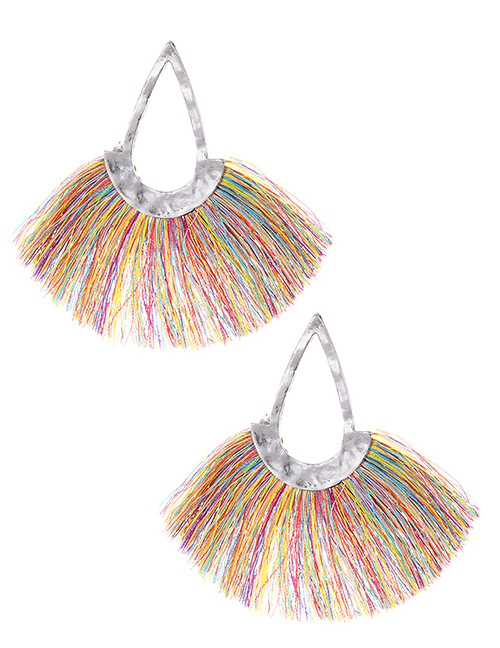 Fashion Multi-color Hollow Out Design Tassel Earrings