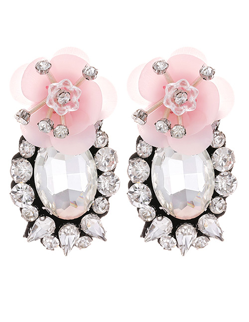 Fashion Pink Flower Shape Decorated Earrings