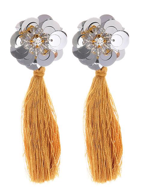 Fashion Khaki Flower Shape Decorated Tassel Earrings