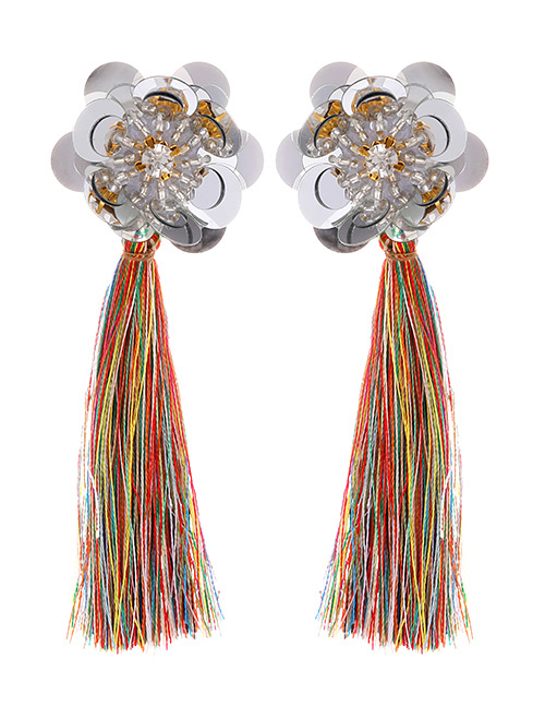 Fashion Multi-color Flower Shape Decorated Tassel Earrings