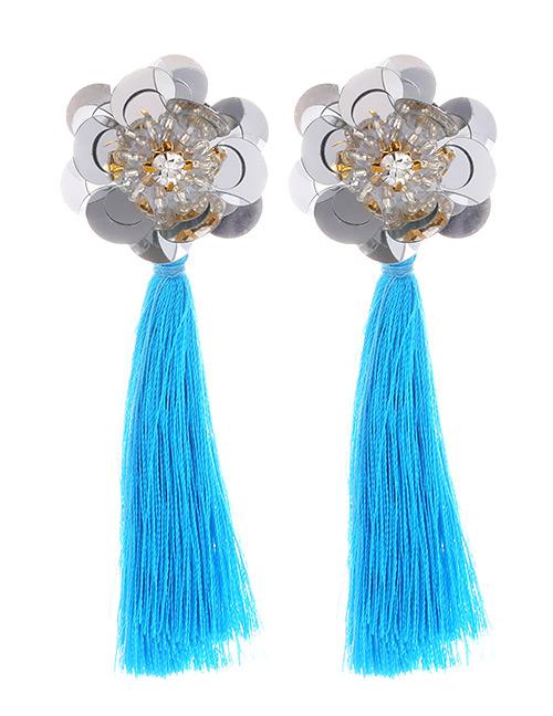 Fashion Blue Flower Shape Decorated Tassel Earrings