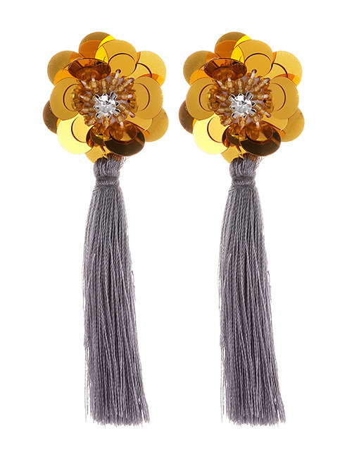 Fashion Gray Flower Shape Decorated Tassel Earrings
