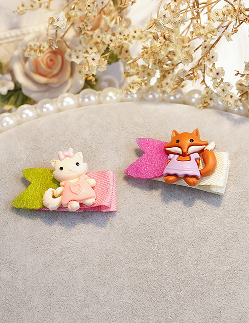 Fashion Multi-color Cat&fox Shape Decorated Hair Clip (2 Pcs)